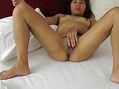 Jaripha Suticost Legs Wide Open Masturbates Before Sex