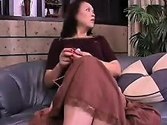 Asian Cougar With Tiny Tits Spreads Her Legs To Stroke Her
